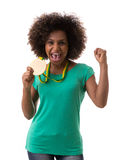 Brazilian woman holding a gold medal on white background Stock Photo