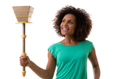 Brazilian woman holding a torch on white background Royalty Free Stock Photography