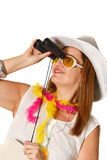 Brazilian woman looking at stock images