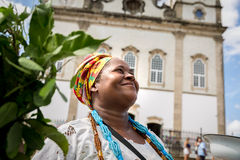Brazilian woman wearing traditional clothes at Bonfim Church in Salvador, Bahia, Brazil Royalty Free Stock Images