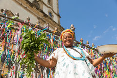 Brazilian woman wearing traditional clothes at Bonfim Church in Salvador, Bahia, Brazil Stock Images