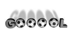 Brazilian word Gol in 3D. Brazilian word Gol render in 3D with several soccer balls Royalty Free Stock Image