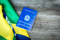 Brazilian work document and social security document on the table Stock Photos