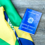 Brazilian work document and social security document on the table Royalty Free Stock Photography