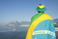 Brazilian Wrapped in Flag at the Sea Stock Photos