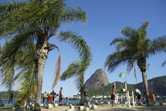 Brazilians Exercising Outdoors at Sugarloaf Mountain Stock Image