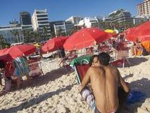 Brazilians Ipanema Beach Rio Summer Stock Photo