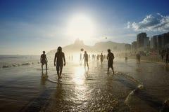 Brazilians Playing Altinho Beach Football Soccer Royalty Free Stock Photos
