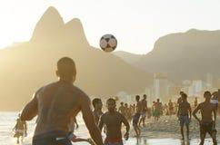 Brazilians Playing Altinho Keepy Uppy Futebol Beach Soccer Football Royalty Free Stock Images