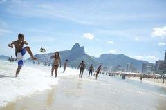 Brazilians Playing Altinho Keepy Uppy Futebol Beach Soccer Football Royalty Free Stock Photography