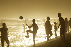 Brazilians Playing Beach Football Altinho Keepy Uppy Soccer Rio Royalty Free Stock Images