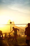 Brazilians Playing Beach Footvolley Rio de Janeiro Brazil Sunset Royalty Free Stock Photography