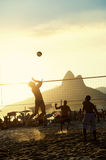 Brazilians Playing Beach Volleyball Rio de Janeiro Brazil Sunset Stock Photography