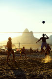 Brazilians Playing Beach Volleyball Rio de Janeiro Brazil Sunset Royalty Free Stock Photography