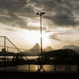 Brazilians playing football in Rio de Janeiro, Brazil