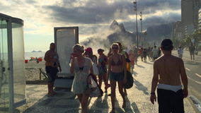 Brazilians at Posto Nove Lifeguard Tower stock footage