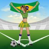 brazill ποδόσφαιρο ανεμιστήρων Στοκ Φωτογραφία