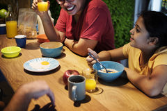 Brazillian family having breakfast together Royalty Free Stock Photos
