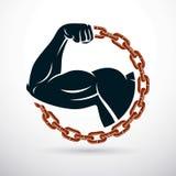 Brazo atlético compuesto con la cadena del hierro, símbolo de la fuerza, lifte stock de ilustración