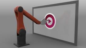 Brazo del robot que hace clic el botón de reproducción representación 3d Imagenes de archivo