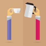 Brazo determinado y mano del icono caliente del pote del café del vector Imágenes de archivo libres de regalías