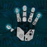 Brazo mecánico, mano del robot, mano ilustración del vector