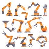 Brazo robótico de la fabricación plana El robot automático arma, equipo industrial del transportador auto de la fábrica Manos de  stock de ilustración