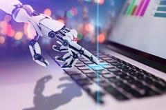 Brazo robótico que trabaja con el cuaderno Diseño conceptual de la tecnología stock de ilustración