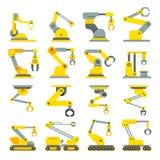 Brazo robótico, mano, iconos planos del vector del robot industrial fijados Foto de archivo