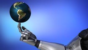 Brazo y planeta del robot metrajes