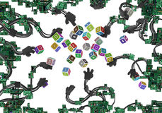 Brazos atados con alambre circuitos Toy Cubes Imágenes de archivo libres de regalías
