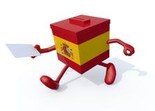 Brazos de la pizca de la urna de la elección, piernas y papel de sobre españoles o Fotografía de archivo