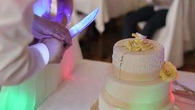 Brazos de las novias que cortan el pastel de bodas almacen de video