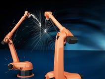Brazos robóticos industriales Imágenes de archivo libres de regalías
