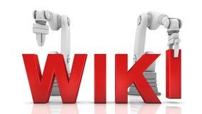 Brazos robóticos industriales que construyen palabra de WIKI Fotos de archivo libres de regalías