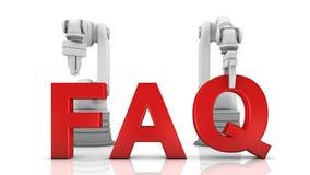 Brazos robóticos industriales que construyen palabra del FAQ Foto de archivo