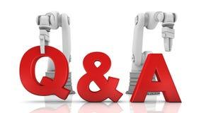 Brazos robóticos industriales que construyen palabra del Q&A Imagen de archivo libre de regalías