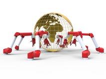Brazos robóticos - globo de la tierra Imagen de archivo