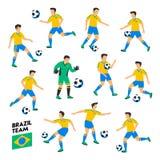 Brazylia drużyna futbolowa Brazylia gracze piłki nożnej Pełna drużyna futbolowa, 11 gracz Gracze piłki nożnej na różnych pozycjac Zdjęcia Stock