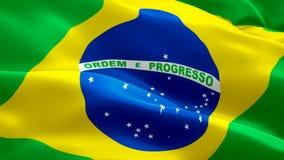 Brazylia falowania flaga Krajowy 3d brazylijczyka flagi falowanie Znak Brazylia pętli bezszwowa animacja Brazylijczyka HD chorągw ilustracji