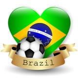 Brazylia flaga serce i piłki nożnej piłka Zdjęcia Stock