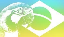 Brazylia flagi ilustracja z Arara ptakiem zdjęcie royalty free