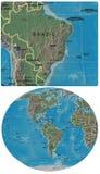 Brazylia i Ameryki mapy Fotografia Royalty Free