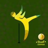 Brazylia lata sporta karta z żółtym abstrakcjonistycznym młoteczkowym miotaczem Zdjęcie Royalty Free