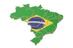 Brazylia mapy zbliżenie, 3D rendering royalty ilustracja