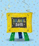 Brazylia 2018 na Chalkboard i confetti Zdjęcia Stock