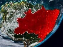 Brazylia na ziemi przy nocą zdjęcia royalty free