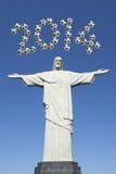 Brazylia piłki nożnej 2014 Futbolowy nowy rok Corcovado Rio De Janeiro Fotografia Stock