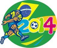 Brazylia piłki nożnej 2014 gracz futbolu Retro ilustracja wektor