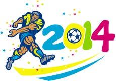 Brazylia 2014 piłki nożnej gracza futbolu Odosobniony Retro royalty ilustracja